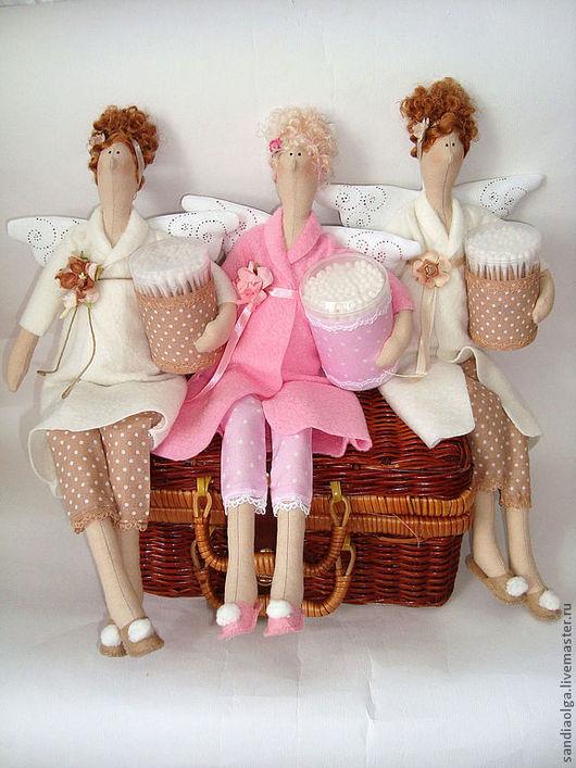 Куклы Тильды ручной работы. Ярмарка Мастеров - ручная работа. Купить Банный ангел с ватными палочками. Handmade. Ангел тильда