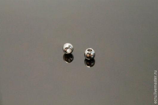 Бусины 3 мм металлические родиевые,  Южная Корея