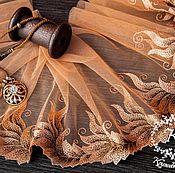 Материалы для творчества ручной работы. Ярмарка Мастеров - ручная работа Кружево 441 вышивка на сетке, кружево с вышивкой. Handmade.