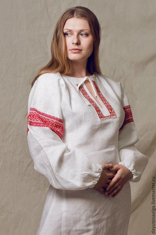 Одежда ручной работы. Ярмарка Мастеров - ручная работа. Купить Платье славянское льняное. Handmade. Славянский стиль, лен, деревня