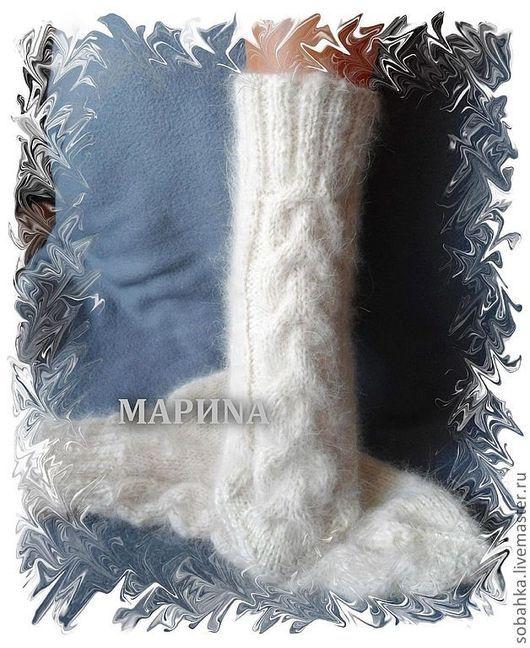 Носки, Чулки ручной работы. Ярмарка Мастеров - ручная работа. Купить НОСКИ женские собачий пух. Handmade. Белый, носочки