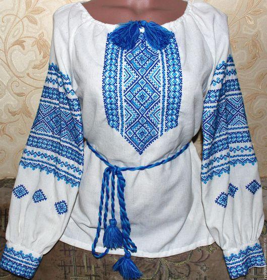 """Этническая одежда ручной работы. Ярмарка Мастеров - ручная работа. Купить Женская вышиванка """"Голубое небо"""". Handmade. Белый, вышивка"""