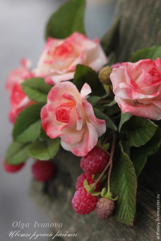 """Заколки ручной работы. Ярмарка Мастеров - ручная работа. Купить Заколка-автомат """"Забытый сад"""".. Handmade. Розовый, заколка с ягодами"""