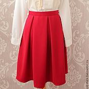 Одежда ручной работы. Ярмарка Мастеров - ручная работа Красная юбка со складками. Handmade.