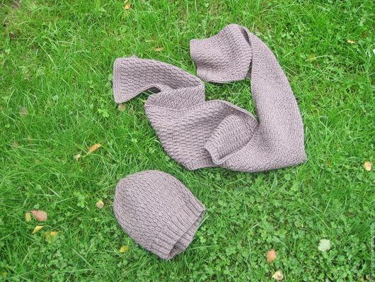 """Шапки ручной работы. Ярмарка Мастеров - ручная работа. Купить """"Кофе меланж"""" вязаный комплект шапка и шарф. Унисекс.. Handmade."""