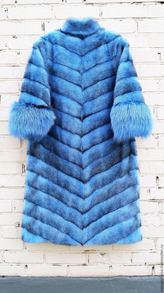 Верхняя одежда ручной работы. Ярмарка Мастеров - ручная работа. Купить Шуба норковая длинная. Большой размер. Handmade. Голубой