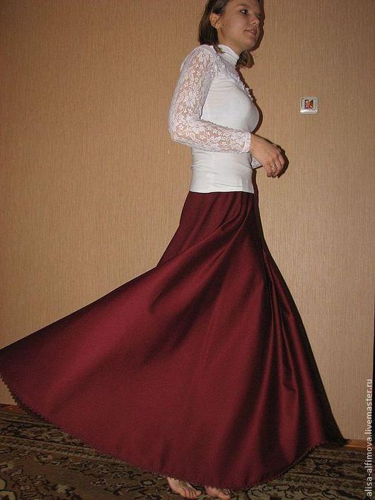 """Юбки ручной работы. Ярмарка Мастеров - ручная работа. Купить Шерстяная юбка в пол """"Бордо"""", теплая. Handmade. Бордовый"""