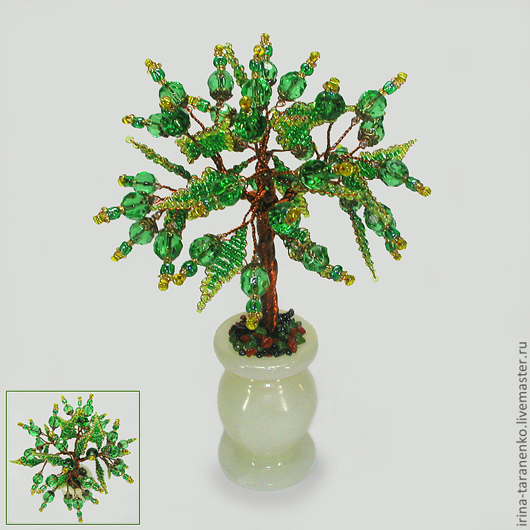 Tree of love from beryl in a vase of onyx