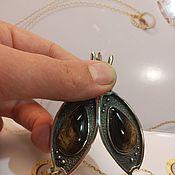 Серьги классические ручной работы. Ярмарка Мастеров - ручная работа Серьги с турмалином  в серебре ( № 3 ). Handmade.
