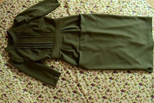Платья ручной работы. Ярмарка Мастеров - ручная работа. Купить Шерстяное платье (заказ по фото). Handmade. Тёмно-зелёный, осень