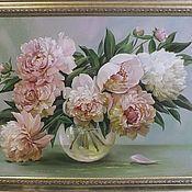 """Картины и панно ручной работы. Ярмарка Мастеров - ручная работа """"""""Бело-розовые пионы"""". Handmade."""