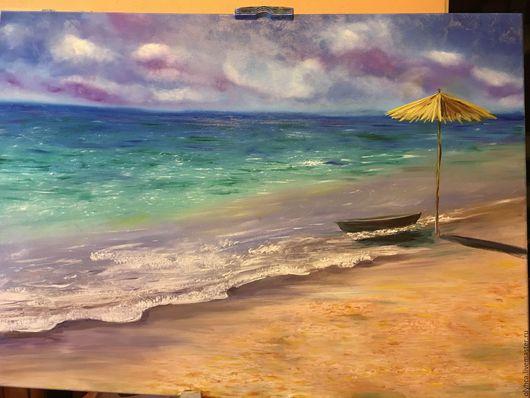Пейзаж ручной работы. Ярмарка Мастеров - ручная работа. Купить Тёплая мечта 50х70. Handmade. Бирюзовый, пляж, романтичный подарок