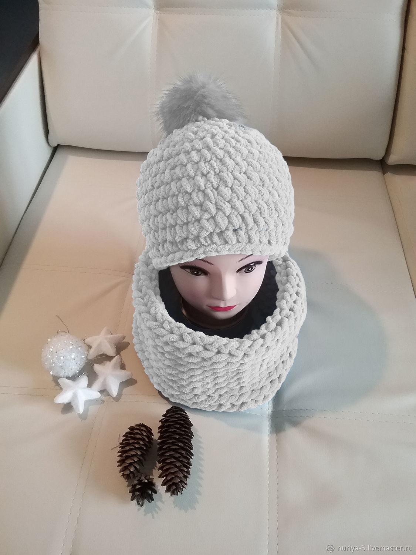 Комплект белые снуд и шапка, Шапки, Самара,  Фото №1