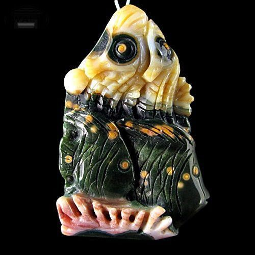 Для украшений ручной работы. Ярмарка Мастеров - ручная работа. Купить Резные рыбки. Яшма. Подвеска 49х33мм. Handmade. Камни