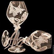 "Свадебный салон ручной работы. Ярмарка Мастеров - ручная работа Свадебные бокалы ""fly fly a butterfly"". Handmade."