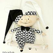 Я - Шут, я - Арлекин... Черно-белый Дель арте Кукла-подвеска