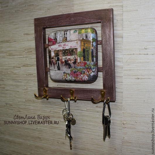 """Прихожая ручной работы. Ярмарка Мастеров - ручная работа. Купить Ключница панно """"Кафе в Париже"""" (декупаж). Handmade."""