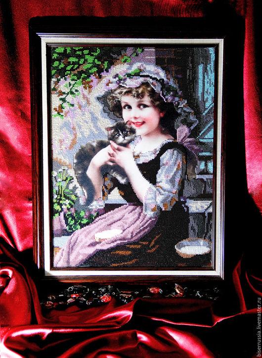 """Люди, ручной работы. Ярмарка Мастеров - ручная работа. Купить Картина из бисера """"Юность"""" 45 х 36 см ( картина продана). Handmade."""