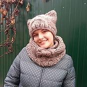 Аксессуары handmade. Livemaster - original item Kit knitting (hat, cat, LIC). Handmade.