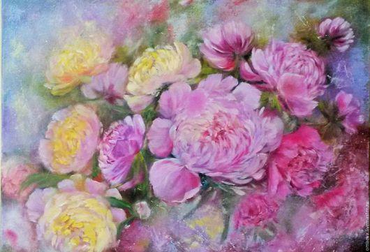"""Картины цветов ручной работы. Ярмарка Мастеров - ручная работа. Купить """" Пионы""""( Вальс цветов).пионы,розовый .. Handmade."""
