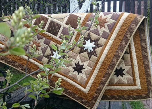 Текстиль, ковры ручной работы. Ярмарка Мастеров - ручная работа. Купить Лоскутное покрывало Монплезир пэчворк. Handmade. Коричневый