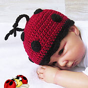 Работы для детей, handmade. Livemaster - original item Accessories for photo shoot: hat for newborns ladybug. Handmade.