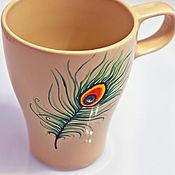 Посуда ручной работы. Ярмарка Мастеров - ручная работа Чашка для чая с орнаментом перо павлина. Handmade.