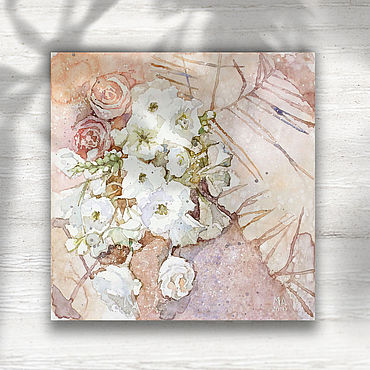 Pictures and panels handmade. Livemaster - original item Watercolor painting on canvas bouquet (purple, pink, flowers). Handmade.