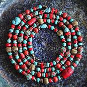 Работы для детей, handmade. Livemaster - original item Very long necklace in ethnic style, coral turquoise Tibetan beads coconut. Handmade.