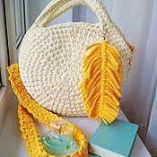 Классическая сумка ручной работы. Ярмарка Мастеров - ручная работа Сумочка из трикотажной пряжи, круглая. Handmade.
