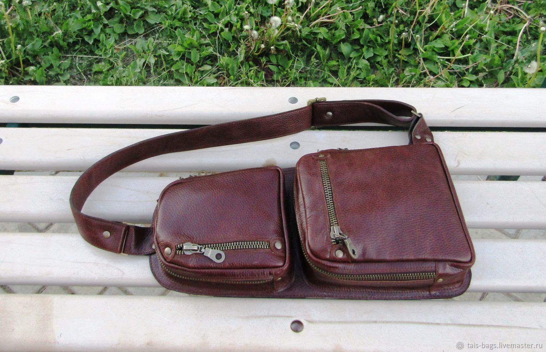 Men's leather one shoulder bag GYRFALCON cognac color, Men\'s bag, Izhevsk,  Фото №1