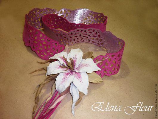 """Пояса, ремни ручной работы. Ярмарка Мастеров - ручная работа. Купить Пояс-кушак кожаный """"Розовый фламинго"""". Handmade. Фуксия"""