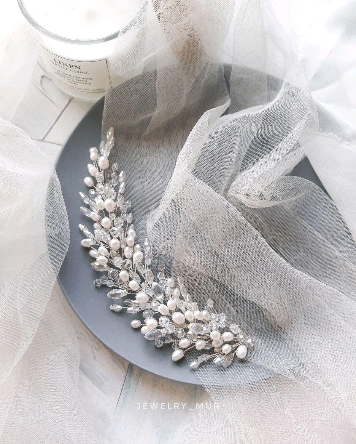 Свадебная веточка с речным жемчугом, Украшения для причесок, Челябинск,  Фото №1