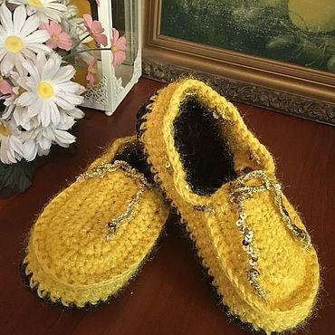 Обувь ручной работы. Ярмарка Мастеров - ручная работа Мокасины вязанные плюшевые. Handmade.