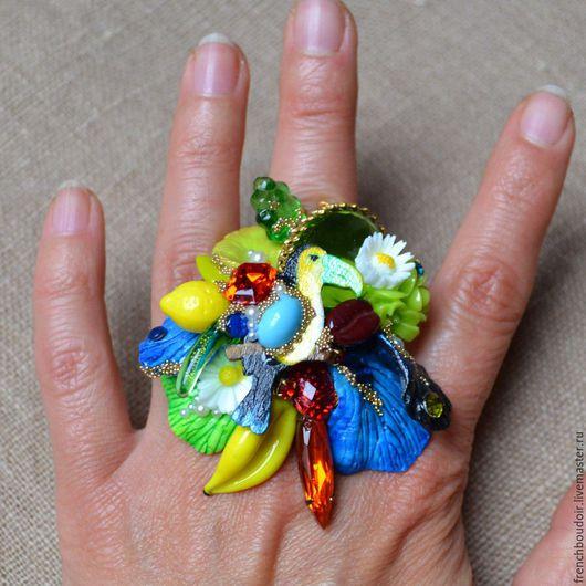 """Кольца ручной работы. Ярмарка Мастеров - ручная работа. Купить Перстень  в стиле китч """"Экзотические джунглии"""". Handmade. Комбинированный, метал"""
