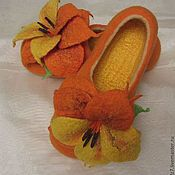 """Тапочки ручной работы. Ярмарка Мастеров - ручная работа Войлочные тапочки """"Оранжевое настроение"""". Handmade."""