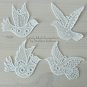 Подарки к праздникам handmade. Livemaster - original item The birds of happiness. Set of 8 PCs White lace Souvenirs Bird lace. Handmade.