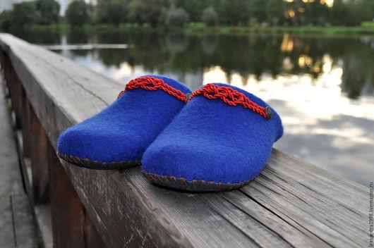"""Обувь ручной работы. Ярмарка Мастеров - ручная работа. Купить Валяные мужские тапочки """" Морские узелки 3"""". Handmade."""