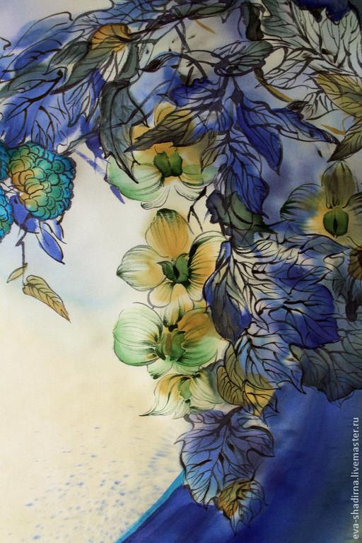 """Шали, палантины ручной работы. Ярмарка Мастеров - ручная работа. Купить Платок  шелковый батик """"Полночная орхидея"""". Handmade. Батик"""