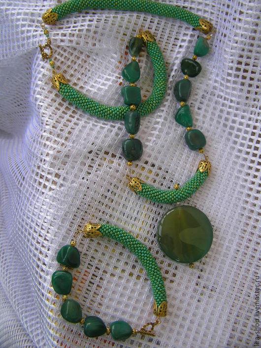 Комплекты украшений ручной работы. Ярмарка Мастеров - ручная работа. Купить Нефритовый комплект. Handmade. Тёмно-зелёный, нефрит, бисер