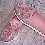 """Обувь ручной работы. Ярмарка Мастеров - ручная работа Туфли валяные """"Цветы для любимой""""  Русский стиль. Handmade."""