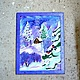 Landscape handmade. painting murals batik blue purple 'Winter's tale' natural silk. Silk scarves gift for Womans. My Livemaster.