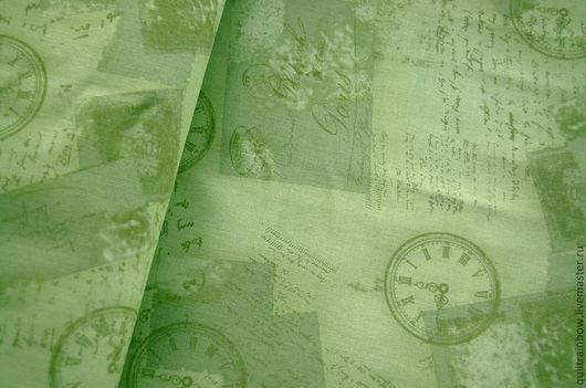 """Шитье ручной работы. Ярмарка Мастеров - ручная работа. Купить Хлопок """"Время"""". Handmade. Зеленый, 100% хлопок, ткань для рукоделия"""