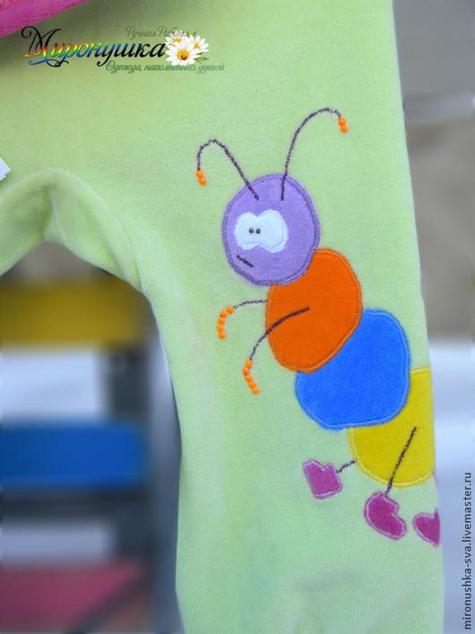 """Одежда для девочек, ручной работы. Ярмарка Мастеров - ручная работа. Купить Велюровый комплект """"Гусеничка"""". Handmade. Однотонный, гусеница, желтый"""