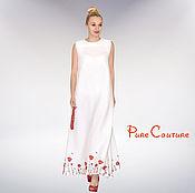 Одежда ручной работы. Ярмарка Мастеров - ручная работа Платье в пол белое Платье длинное Льняное платье макси Сарафан летний. Handmade.