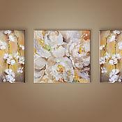 Картины ручной работы. Ярмарка Мастеров - ручная работа Триптих Нежность цветения. Handmade.