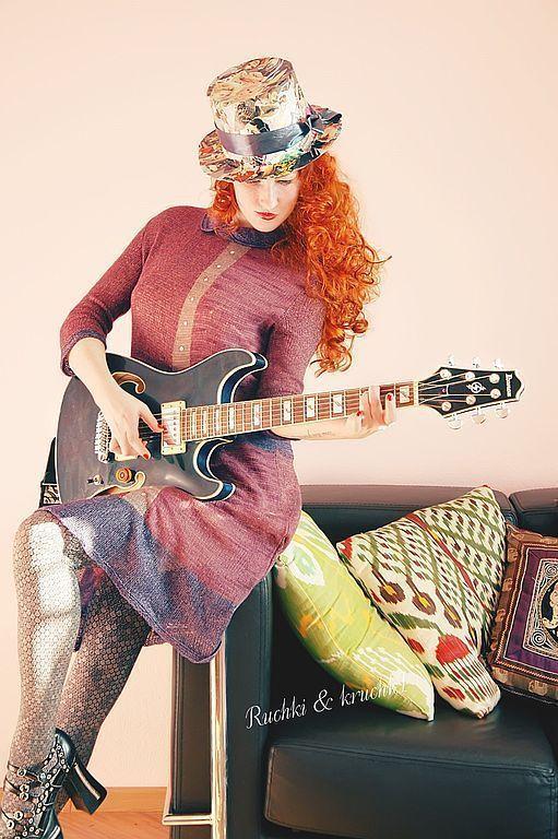"""Платья ручной работы. Ярмарка Мастеров - ручная работа. Купить """"Назад в 60е, е-е!!!"""" Авторское вязаное спицами платье из ка. Handmade."""