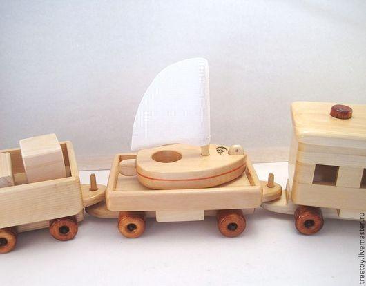 Техника ручной работы. Ярмарка Мастеров - ручная работа. Купить Вагон с яхточкой. Handmade. Деревянная игрушка, подарок, безопасная игрушка