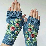 Аксессуары ручной работы. Ярмарка Мастеров - ручная работа Митенки с вышивкой. Handmade.