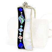 Украшения handmade. Livemaster - original item PENDANT with lapis, turquoise, mother of pearl. Mosaic pendant. Handmade.